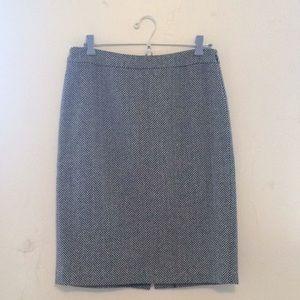 J. Crew Black and White Herringbone Pencil Skirt